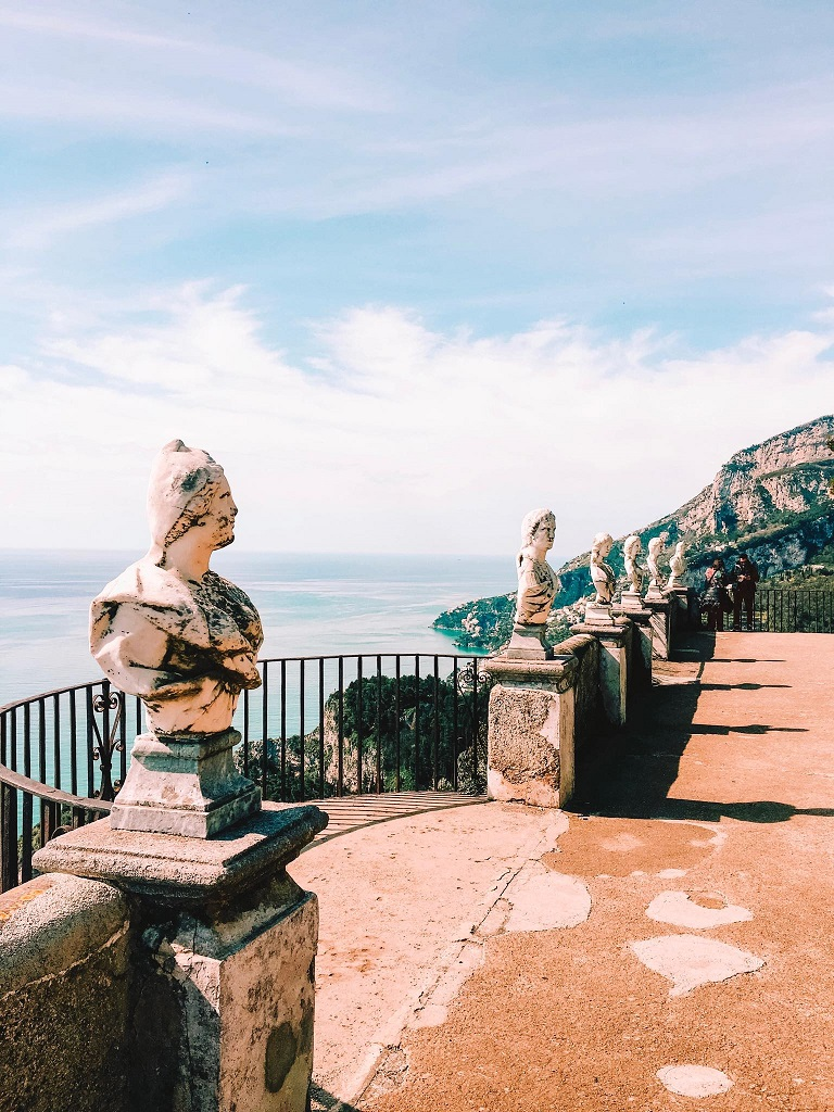 Villa Cimbrone - kipci, razgled in Terrazza dell'Infinito