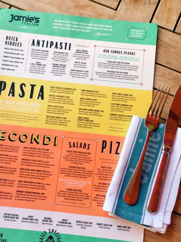Na kosilu pri Jamie's Italian - menu
